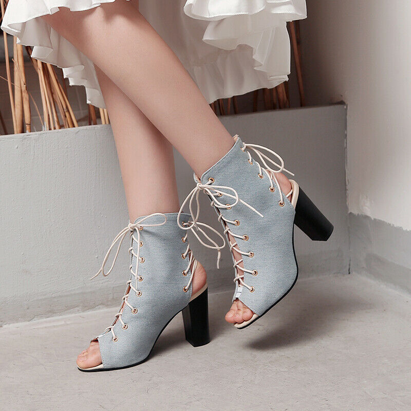Ladies Peep Toe Block High Heels Cross Strappy Denim Fabric Slingback Sandals
