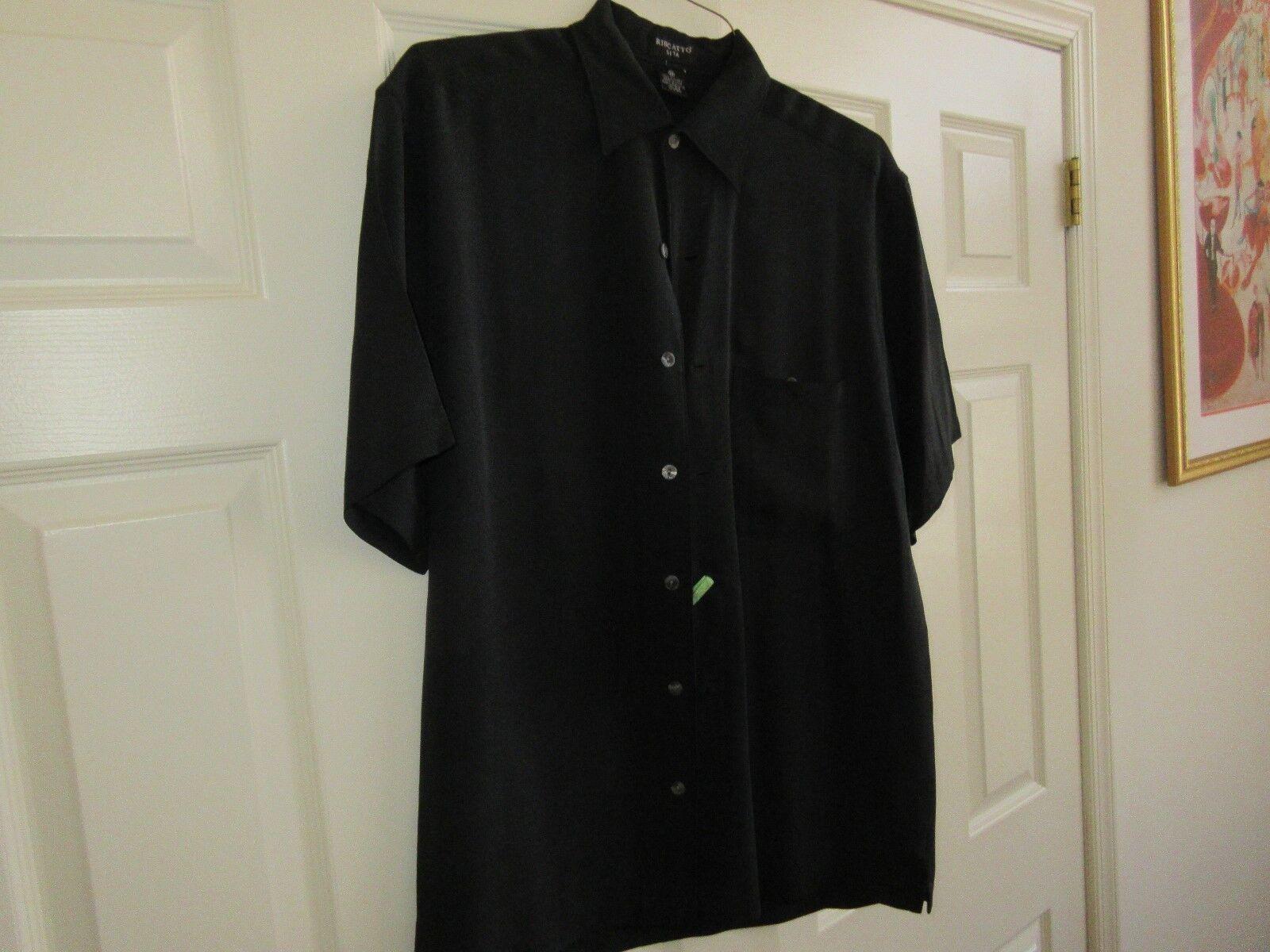 Riscatto Seta , M , 100% Silk , Short Sleeve , Black