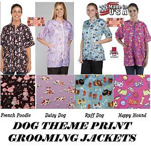 Pet GROOMING GROOMER STYLIST BARBER Hair Water Soil Resistant PRINT JACKET Coat