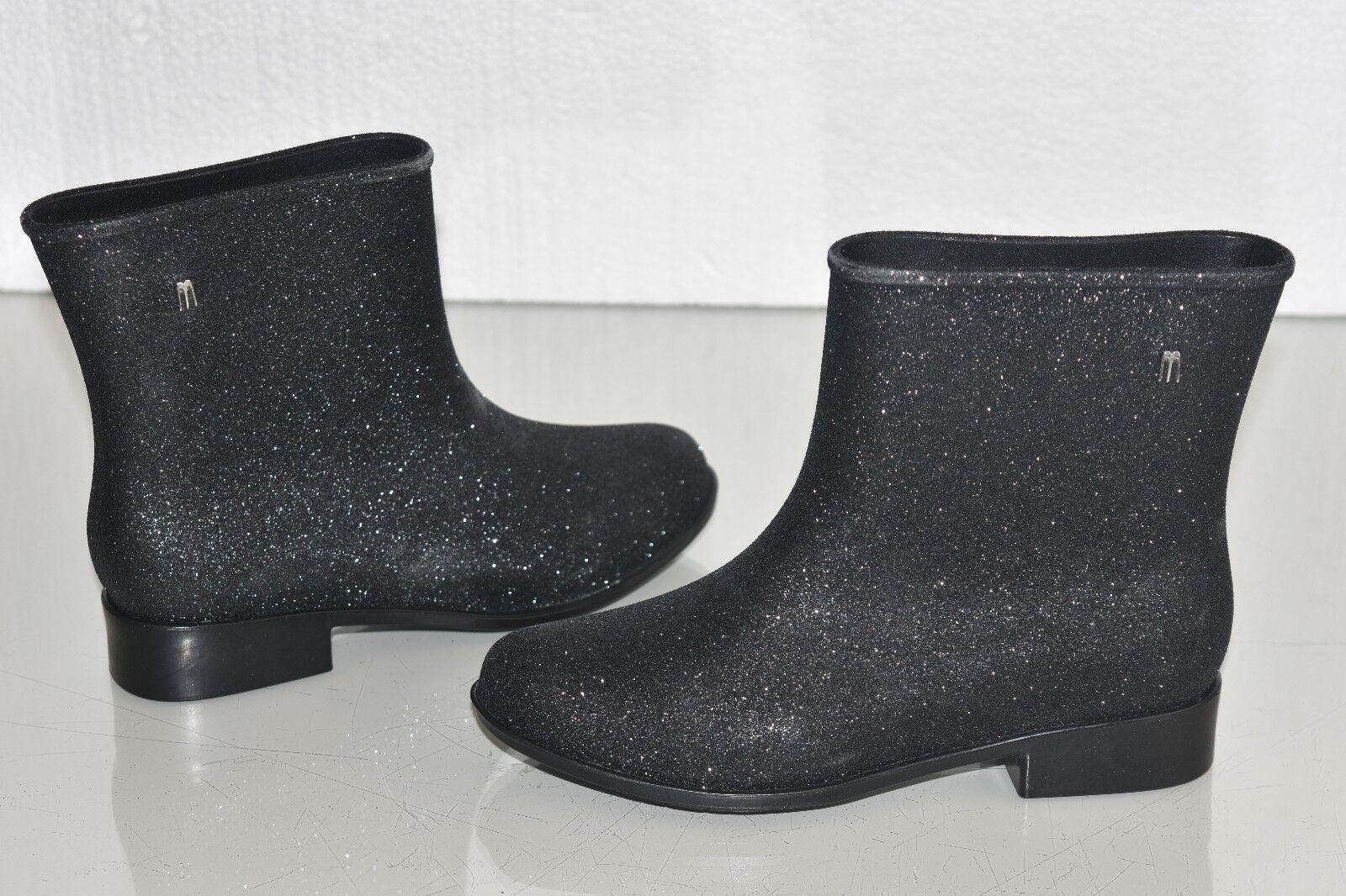 Nuevo gris Melissa Moon Polvo Negro Purpurina gris Nuevo Botines botas Us 5 b9bb70