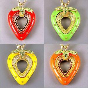 Debenhams-Gold-Plt-Chic-Kitsch-Fresa-Colgante-Collar-C-Cristales-Swarovski