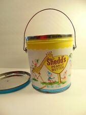 vintage Shedd's Peanut Butter tin / bucket with lid and circus animals on side