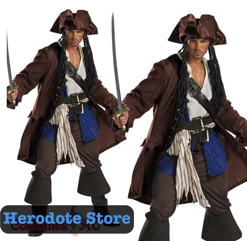 Originale Mens Pirates Of The Caribbean Captain Jack Sparrow PRESTIGE Adult Cost