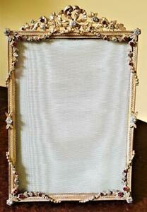 Fine-Antique-7-x-4-5-French-Jeweled-Bronze-Picture-Frame