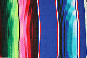 Large New Blue Themed Genuine Mexican Sarape Serape Saltillo Blanket Hot Rod