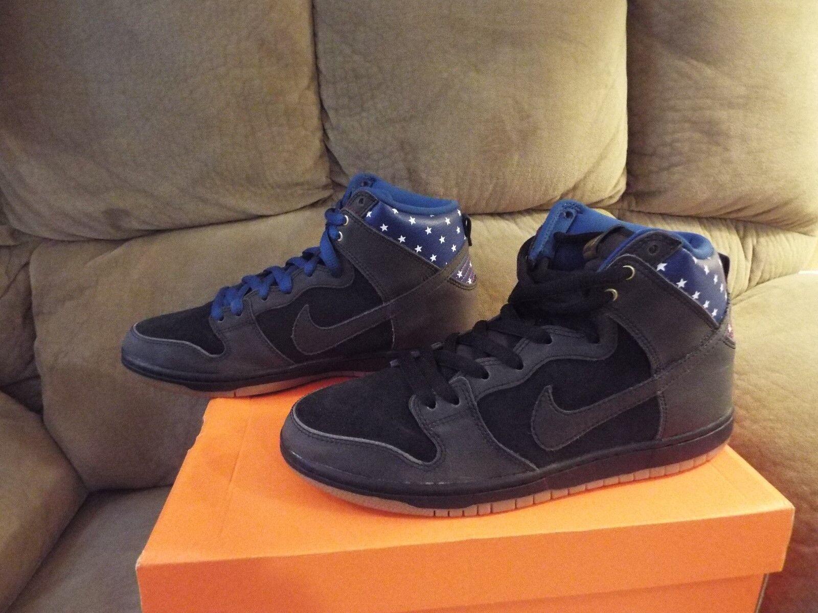 Nike SB Dunk alta pre Estrellas Real Negro \ Oscuro Azul Real Estrellas 313171 022 Capitán América 8.5 eb4164