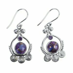 Jewelry-925-Silver-Earrings-Women-Purple-Vintage-Charoite-Dangle-Drop-Hook
