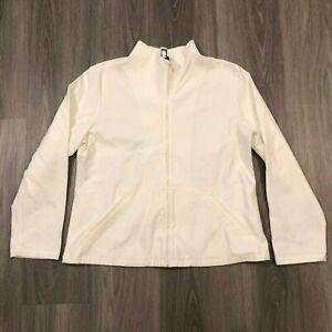 Eileen Fisher Womens Large White Zip Up Lightweight Jacket 94 Cotton 6 Spandex