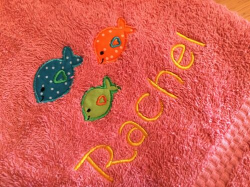 Birthday Personalised Baby//Child Hand or Bath Towel,Fish in Sea,New Baby Gift