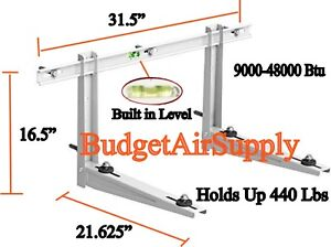 Mini-Split-Wall-Bracket-w-Built-N-Leveler-Crossbar-9K-48K-Btu-Holds-440Lbs-LRG