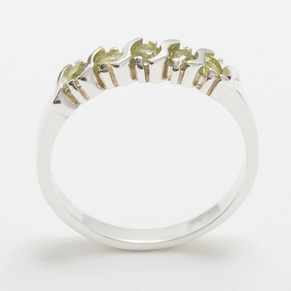 Solid 14ct White gold Natural Peridot Womens Eternity Ring - Sizes J to Z