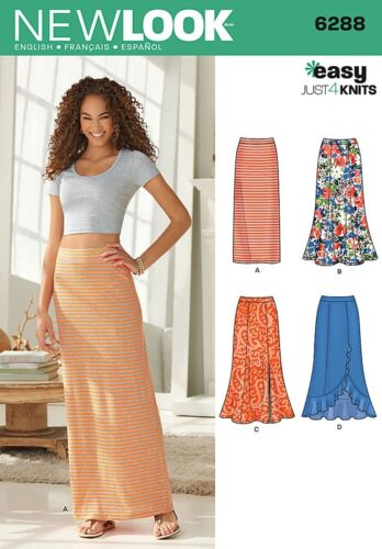 New Look 6288 Size A Misses/' Pull-On Knit Skirts Sewing Pattern Multi-Colour