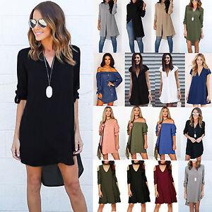 Fashion-Women-039-s-Casual-Loose-Chiffon-Blouse-Shirt-Tops-Summer-Beach-Mini-Dress