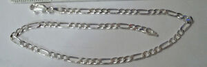 """9"""" Sterling Silver Tiny 3 Mm Wide Figaro Chain Ankle Bracelet Good For Energy And The Spleen Fine Jewelry"""
