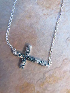 14-KT-White-Gold-Sideways-Blue-amp-White-Diamond-Cross-Pendant-amp-Necklace-NEW
