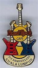 Hard Rock Cafe KUALA LUMPUR 1994 3rd Anniversary PIN 3 Flag Colored Guitars 4321