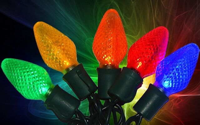 Christmas Lights C9.Led C9 Christmas Light Set Multi Bulbs 100 Count Holiday Time Indoor Outdoor