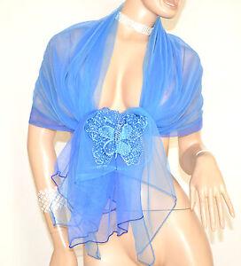 Stola Foulard Blu Azzurro Donna Coprispalle Velato Strass Cerimonia Farfalla 5x
