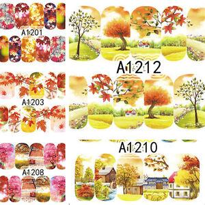 1 Blatt Herbst Design Nagel Kunst Wasser Tattoo Sticker Aufkleber