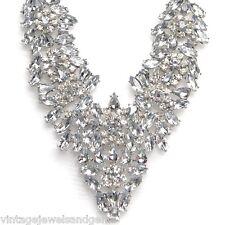 ART DECO CRYSTAL RHINESTONE Silver Floral Choker Collar Bib Statement Necklace