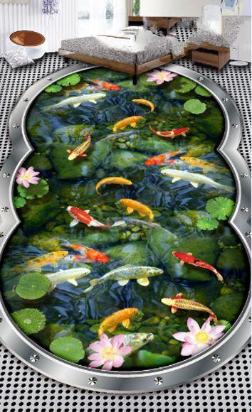 3D Flor Peces Piedra Papel Pintado Mural Parojo Impresión De Piso 777 Calcomanía 5D AJ Wallpaper