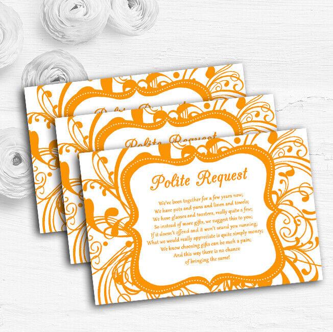 Weiß & Orange Swirl Deco Personalised Wedding Gift Request Money Poem Cards