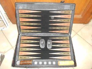 Ancien-Vintage-Jeu-de-Backgammon-velours-jeu-de-cafe-bistrot-societe