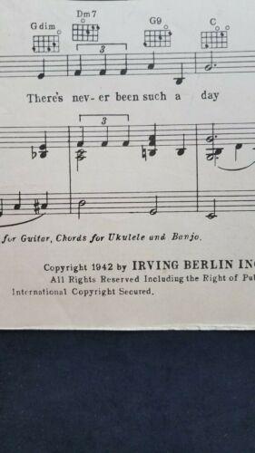 White Christmas Irving Berlin Holiday Inn Bing Crosby Astaire Vtg Sheet Music