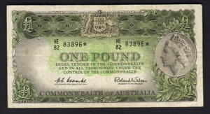 Australia-R-34aS-1961-Coombs-Wilson-One-Pound-STAR-NOTE-Prefix-HE-87-gF