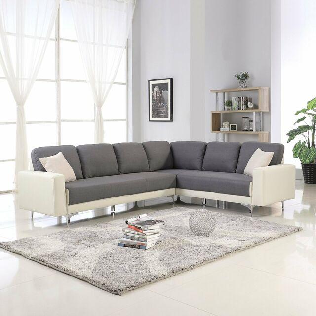 Modern Dark Grey Beige Linen Upholstered L Shape Couch Large Sectional Sofa