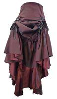 Black Burgundy Goth Ruched Long Steampunk Sateen Corset Frida Saloon Lady Skirt