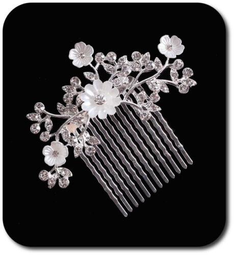 Haarkamm Haargesteck Hochzeit Kammen Metall Braut Blume Strass Emaille Silber
