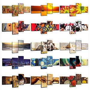 Quadro-Moderno-Cm-180x75-Stampa-su-Tela-Canvas-4-Pezzi-Quadri-Moderni-Astratti