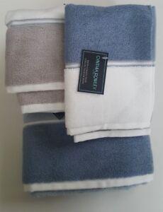 Cynthia Rowley Bathroom 6 Pc Towel Set Stripe Blue Gray Cream New Ebay