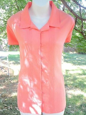Christopher & Banks Peach Button Front Blouse Cap Sleeve Size L