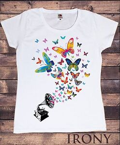 Details About Women S White T Shirt Colourful Erfly Design Gramophone Retro Print Ts324