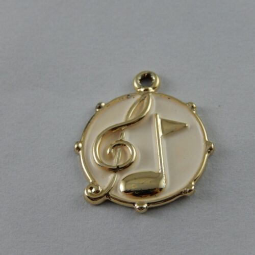 39029 Cute Gold Tone Alloy Round Music Symbol Charms Pendant Finding 10PCS