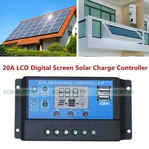 20a Pwm Solar Charge Controller 12v 24v For Solar Power