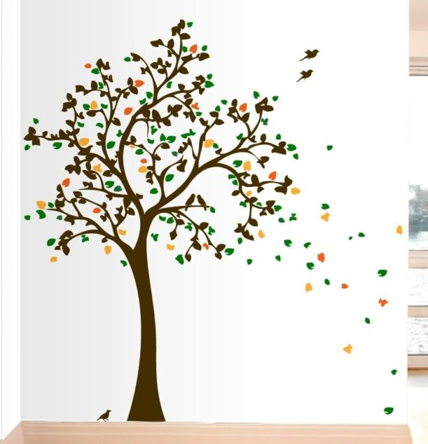 7 FT Tree with 10 Birds Wall Decals Art Sicker Mural