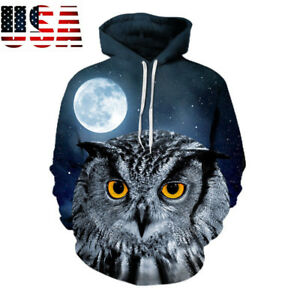 cc106cbbad3e Owl Under the Moon 3D Pullover Hoodie Men Women Sweatshirt Hooded ...