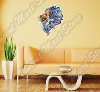 Cheerful Lion Face Abstract Ornament Color Wall Sticker Interior Decor 20x25