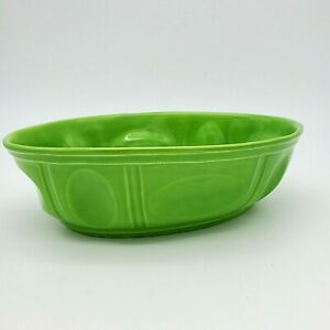 Vintage-Haeger-Pottery-Green-Oval-Planter-Pot-Bowl-Ceramic-3929-Table-Key-Dish