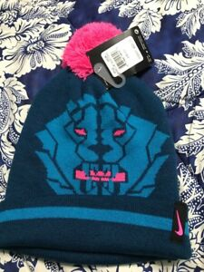d79b05c9aa0 Nike LEBRON JAMES Force Winter Hat Beanie Pom Blue Pink YOUTH Size 8 ...
