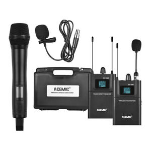 dslr camera dual channel wireless microphone system for interview recording p4n9 ebay. Black Bedroom Furniture Sets. Home Design Ideas