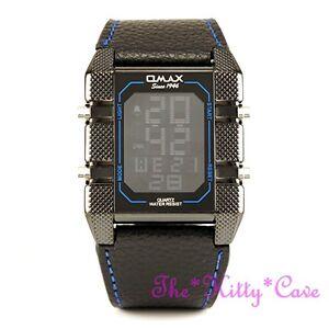 Omax Nero Blu Cronografo in Acciaio Seiko LCD Digitale pelle Orologio Sportivo