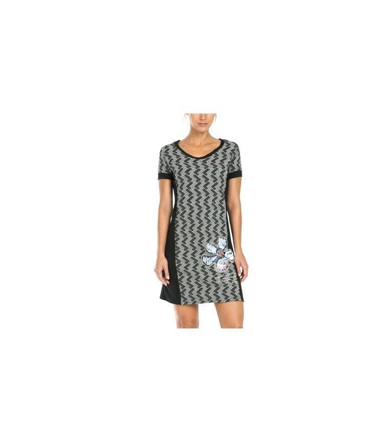 Desigual damen dress schwarz and Weiß short sleeve w flower patch Größe Medium