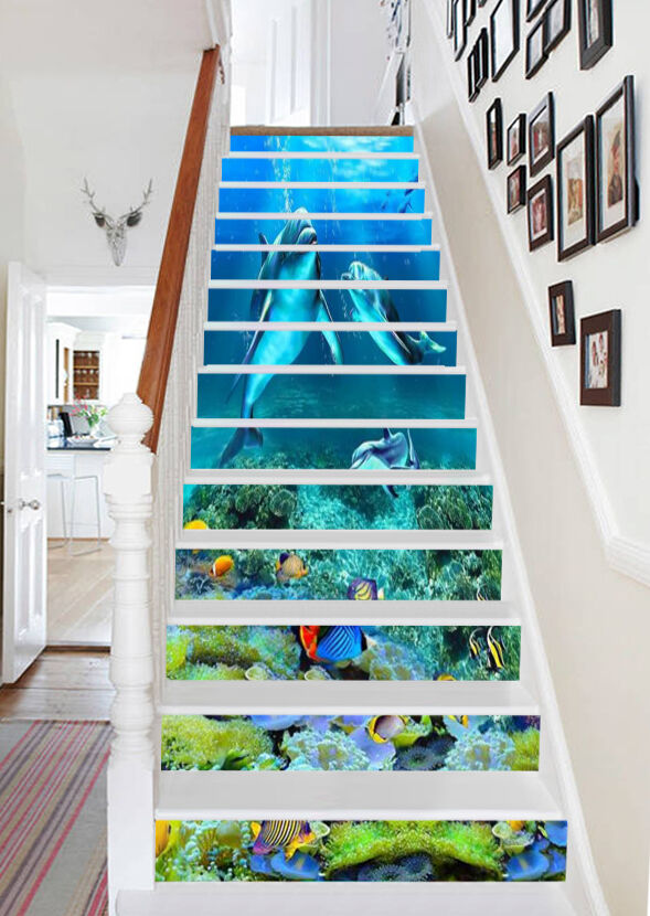 3D Dolphin And Fish 8336 Risers Decoration Photo Mural Vinyl Decal Wallpaper CA