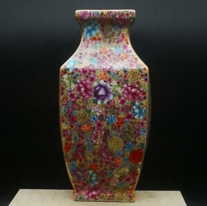 "9.8"" Chinese Ceramics Porcelain Famille Rose Flowers Pretty Square Bottle Vase"