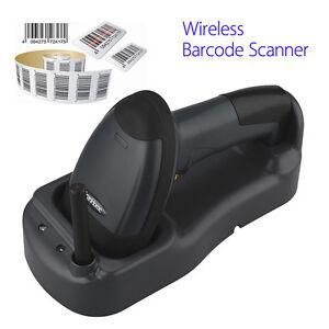 433mhz wireless barcode scanner portable handheld scan bar code reader w base ebay. Black Bedroom Furniture Sets. Home Design Ideas