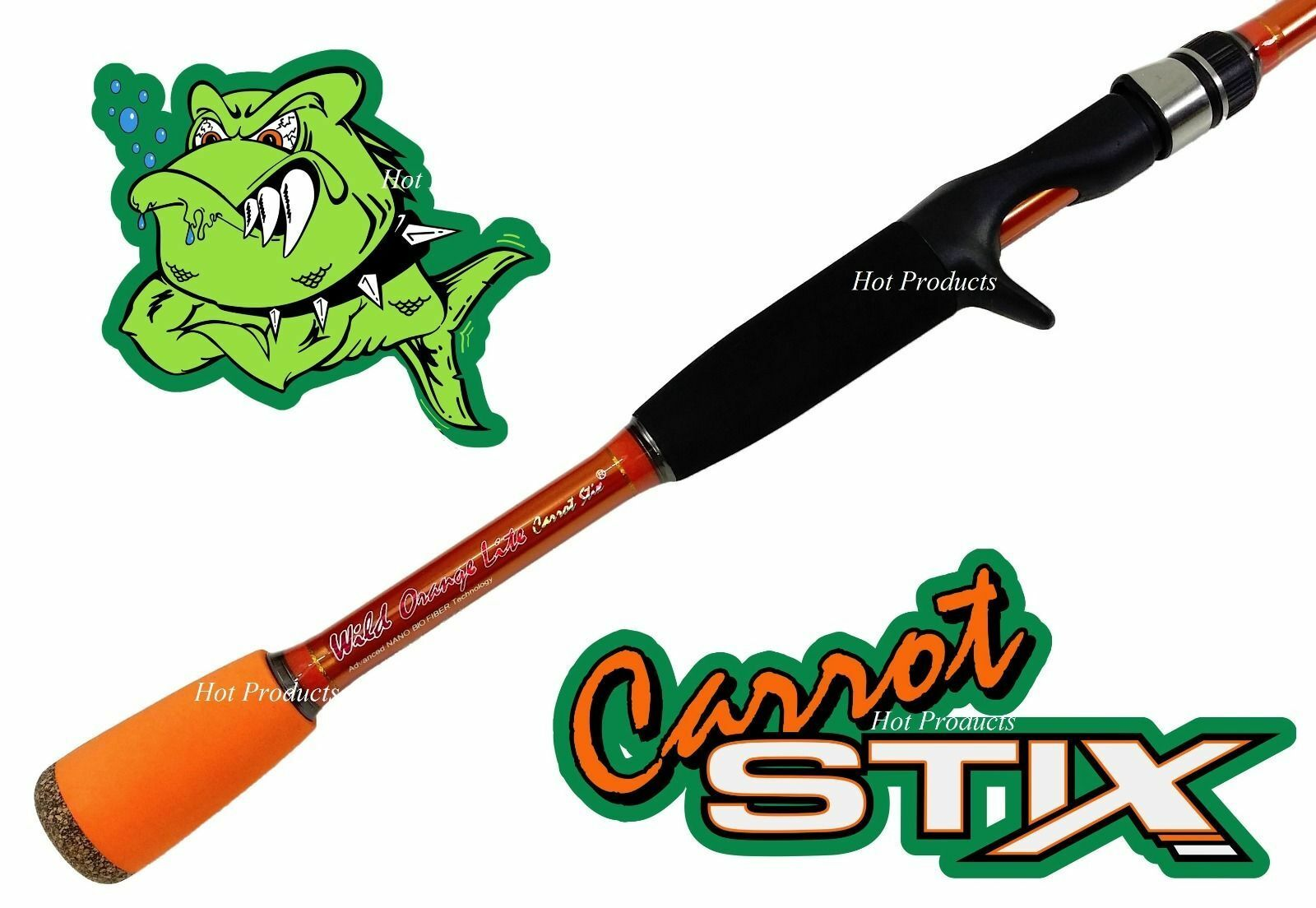 Carred Stix CASTING 6' 7  LIGHT Wild orange Lite Fishing Rod C2WX671L-F-C